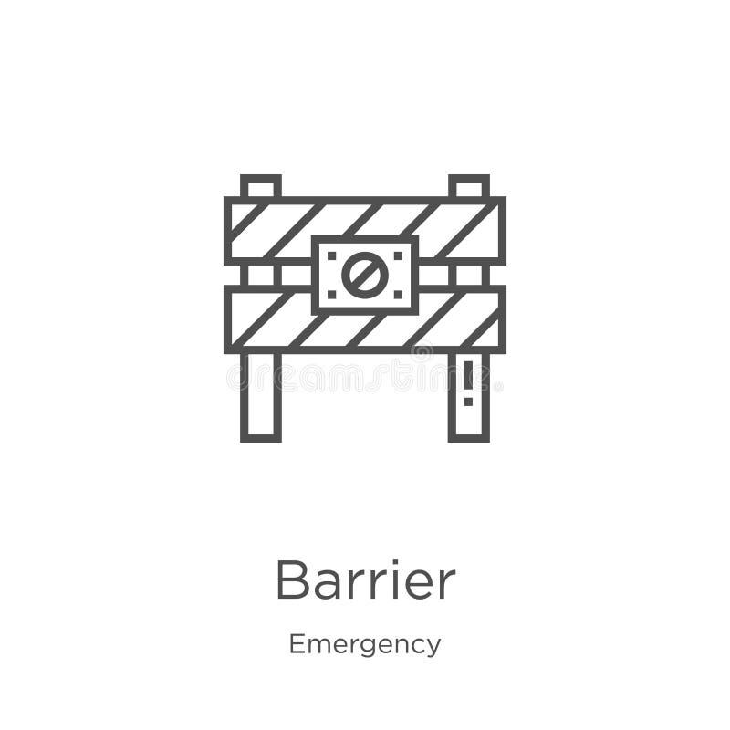 vetor do ícone da barreira da coleção da emergência Linha fina ilustra??o do vetor do ?cone do esbo?o da barreira Esbo?o, linha f ilustração do vetor