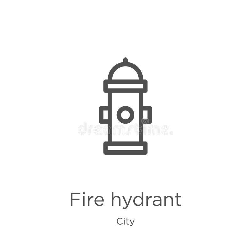 vetor do ícone da boca de incêndio de fogo da coleção da cidade Linha fina ilustra??o do vetor do ?cone do esbo?o da boca de inc? ilustração do vetor
