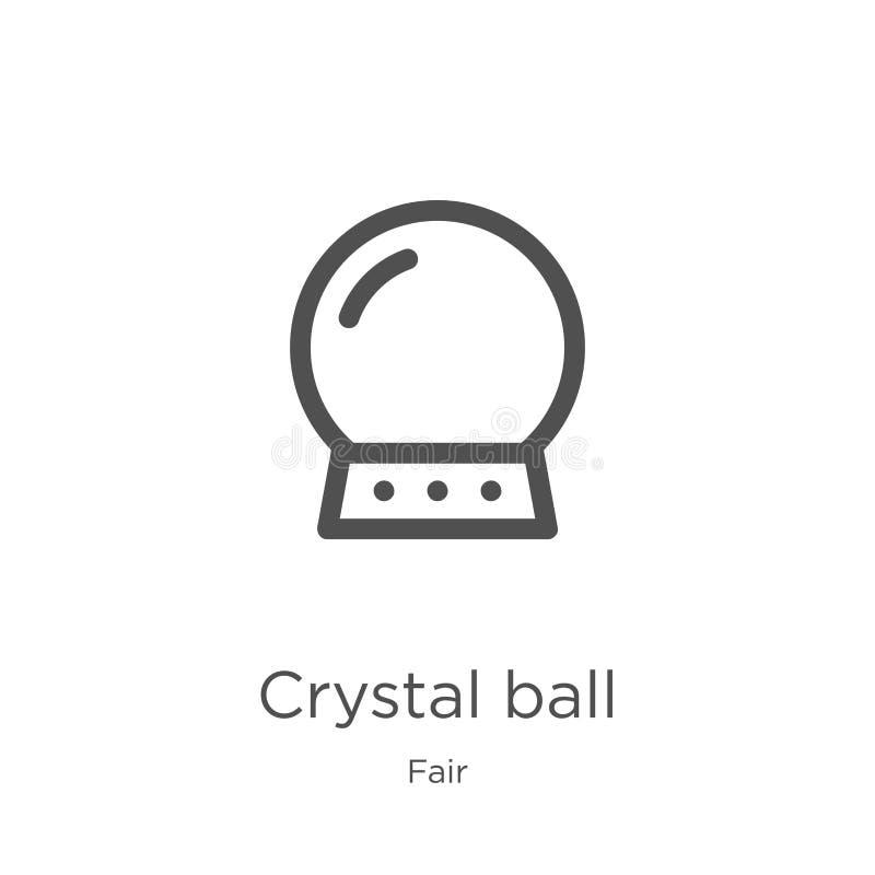 vetor do ícone da bola de cristal da coleção justa Linha fina ilustração do vetor do ícone do esboço da bola de cristal Esboço, l ilustração stock