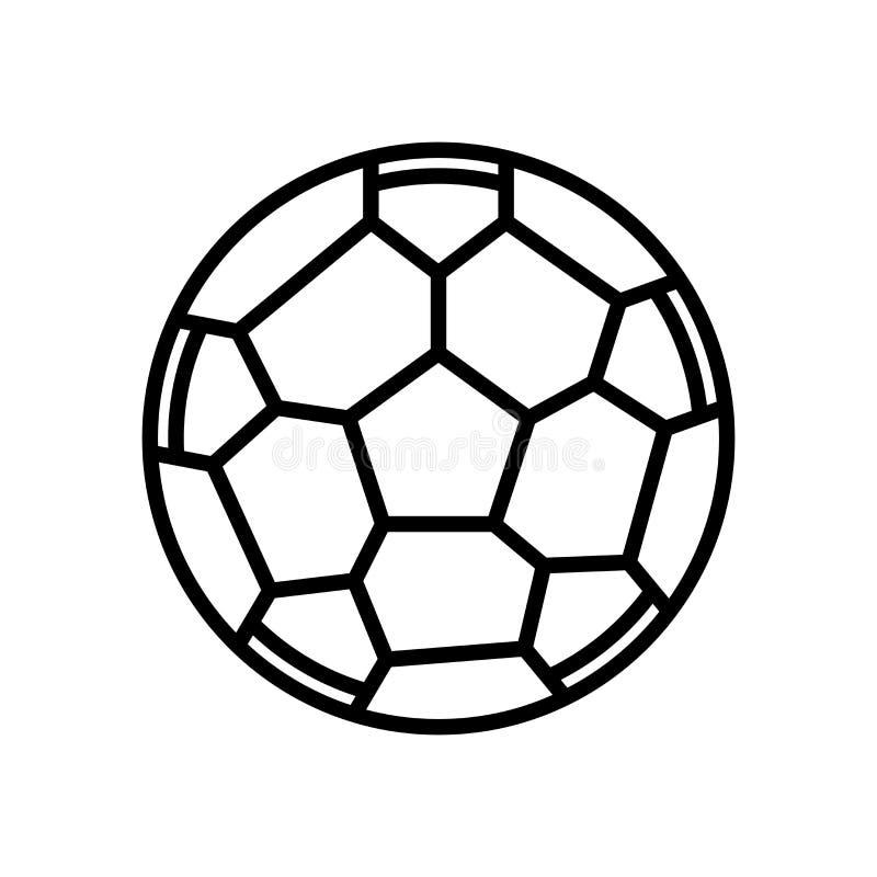 Vetor do ícone da bola de futebol isolado no sinal branco do fundo, da bola de futebol, na linha ou no sinal linear, projeto do e ilustração royalty free
