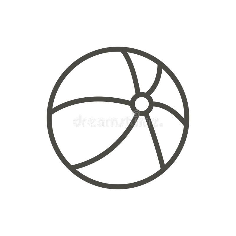Vetor do ícone da bola de praia Linha símbolo do voleibol isolado Projeto liso na moda do sinal do ui do esboço L fino ilustração royalty free
