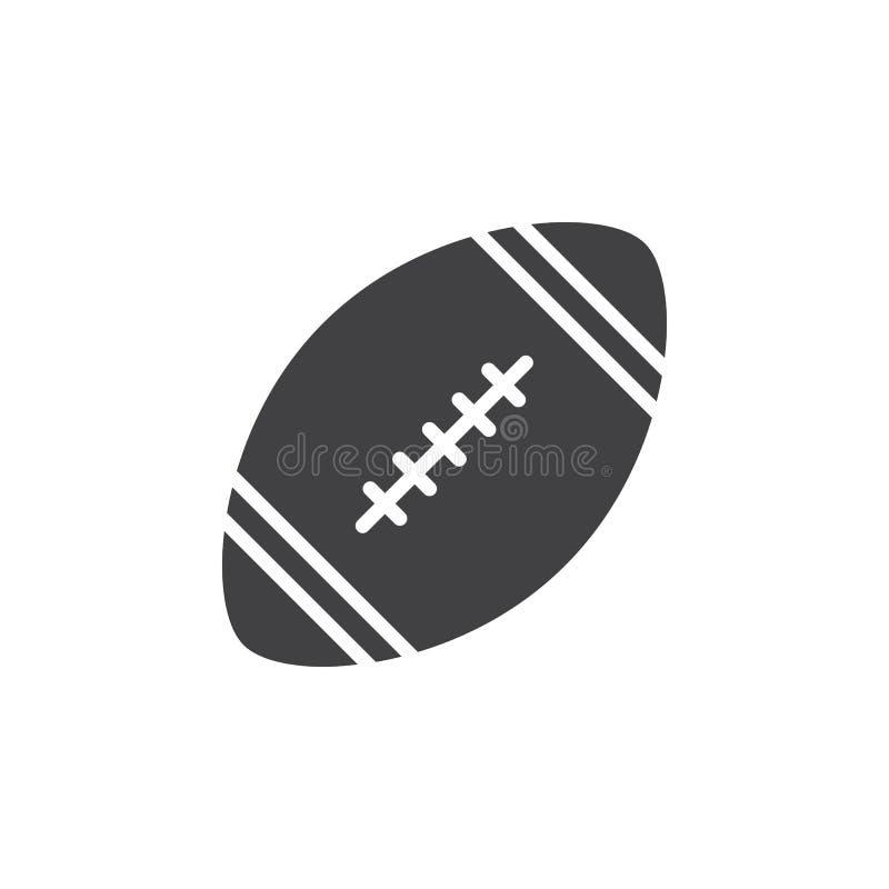Vetor do ícone da bola do futebol americano, sinal liso enchido, pictograma contínuo isolado no branco ilustração do vetor
