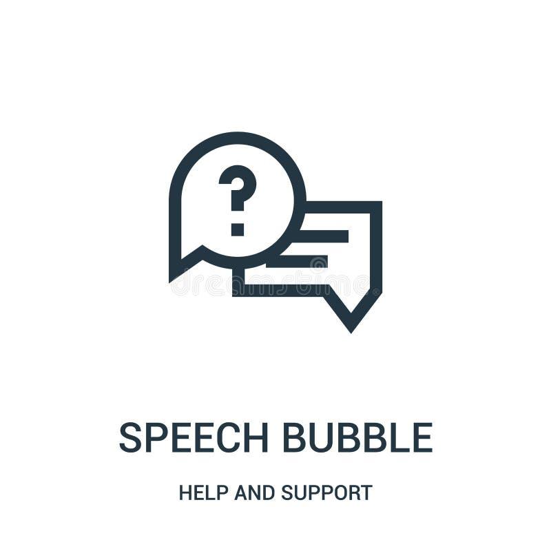 vetor do ícone da bolha do discurso da coleção da ajuda e do apoio Linha fina ilustração do vetor do ícone do esboço da bolha do  ilustração royalty free