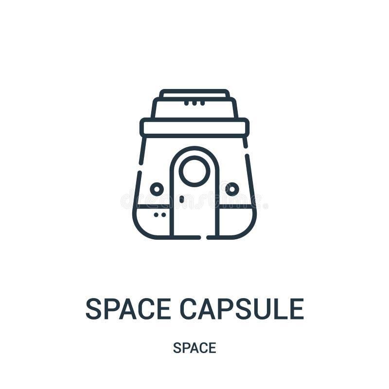 vetor do ícone da cápsula de espaço da coleção do espaço Linha fina ilustração do vetor do ícone do esboço da cápsula de espaço ilustração stock