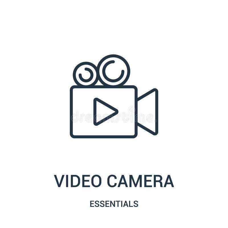vetor do ícone da câmara de vídeo da coleção dos fundamentos Linha fina ilustração do vetor do ícone do esboço da câmara de vídeo ilustração do vetor