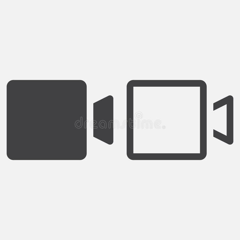 Vetor do ícone da câmara de vídeo isolado no branco ilustração do vetor