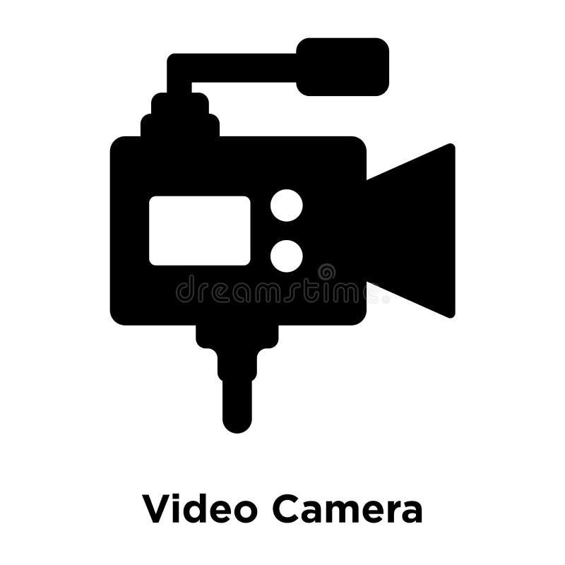 Vetor do ícone da câmara de vídeo isolado no fundo branco, logotipo concentrado ilustração royalty free