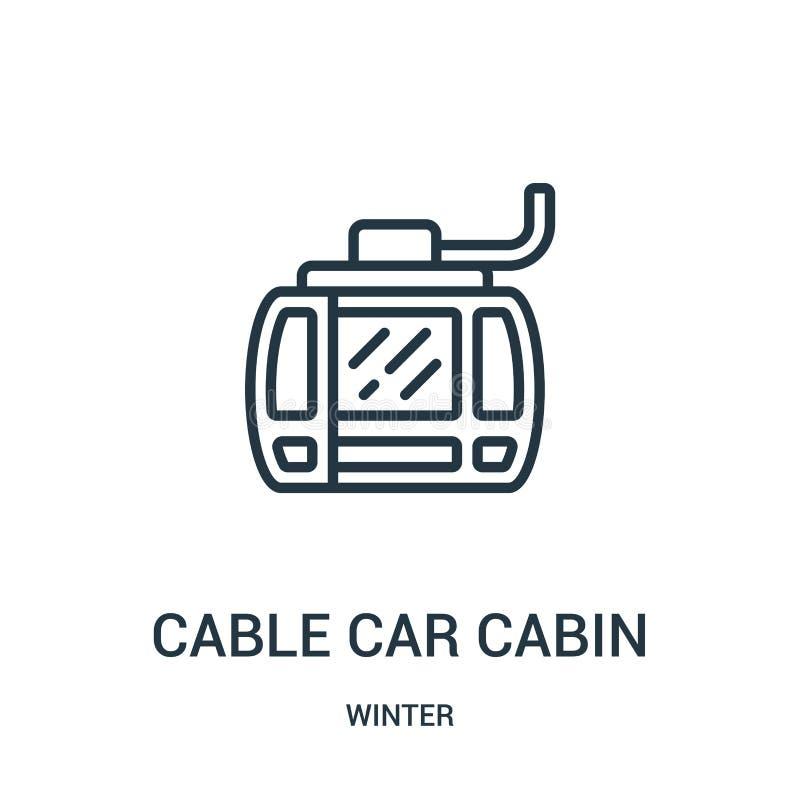 vetor do ícone da cabine do teleférico da coleção do inverno Linha fina ilustração do vetor do ícone do esboço da cabine do telef ilustração royalty free