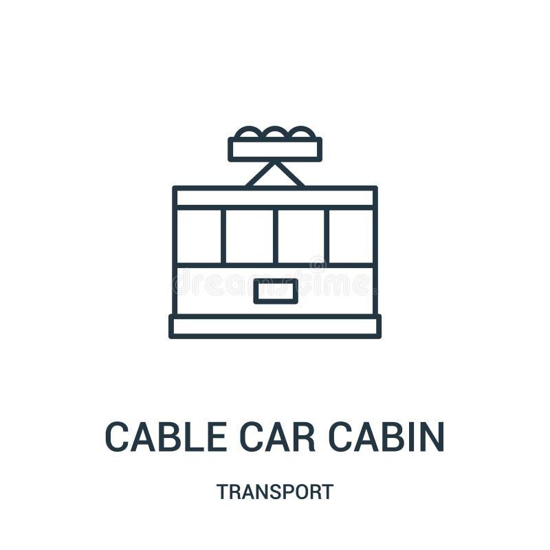 vetor do ícone da cabine do teleférico da coleção do transporte Linha fina ilustração do vetor do ícone do esboço da cabine do te ilustração royalty free