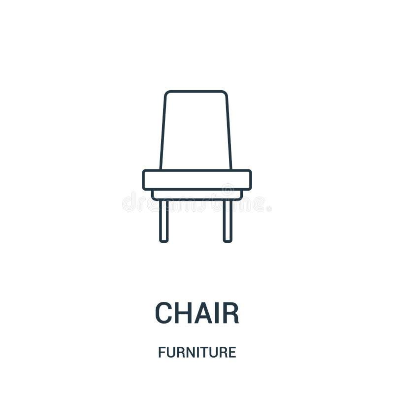 vetor do ícone da cadeira da coleção da mobília Linha fina ilustração do vetor do ícone do esboço da cadeira Símbolo linear para  ilustração do vetor