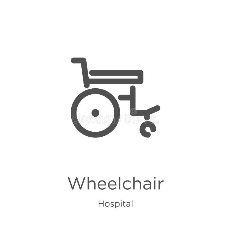 vetor do ícone da cadeira de rodas da coleção do hospital Linha fina ilustra??o do vetor do ?cone do esbo?o da cadeira de rodas E ilustração stock