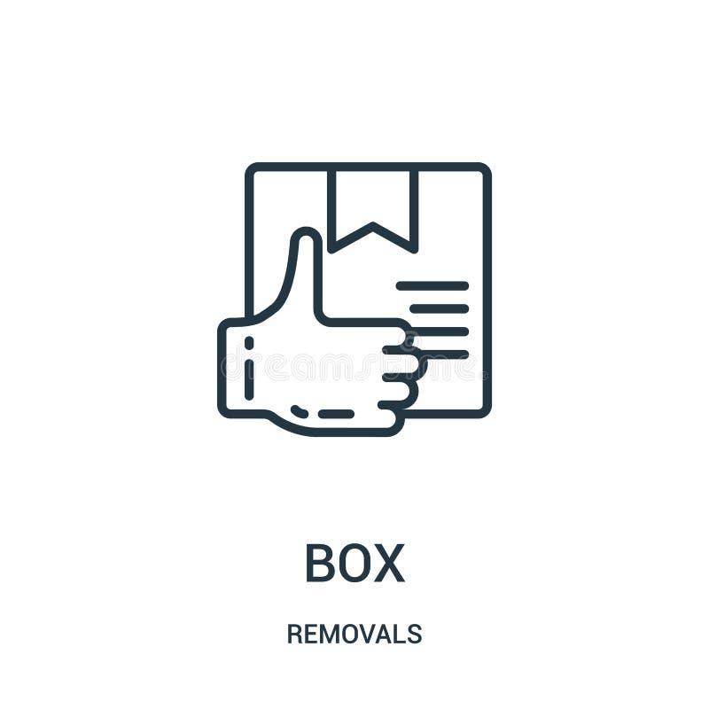 vetor do ícone da caixa da coleção das remoções Linha fina ilustração do vetor do ícone do esboço da caixa Símbolo linear para o  ilustração do vetor