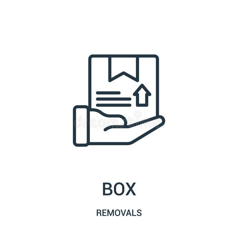 vetor do ícone da caixa da coleção das remoções Linha fina ilustração do vetor do ícone do esboço da caixa Símbolo linear para o  ilustração royalty free