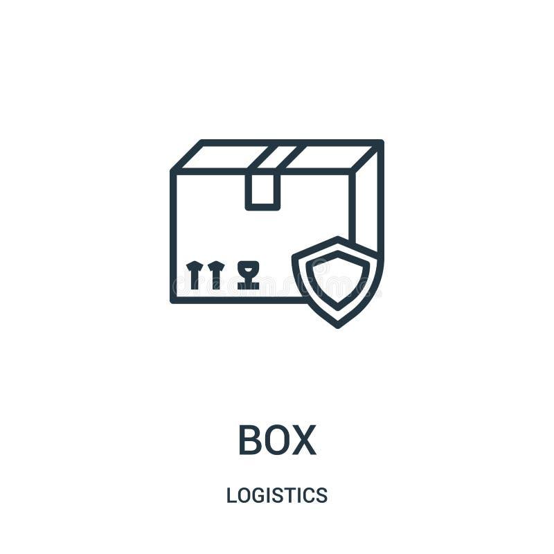 vetor do ícone da caixa da coleção da logística Linha fina ilustração do vetor do ícone do esboço da caixa Símbolo linear para o  ilustração royalty free