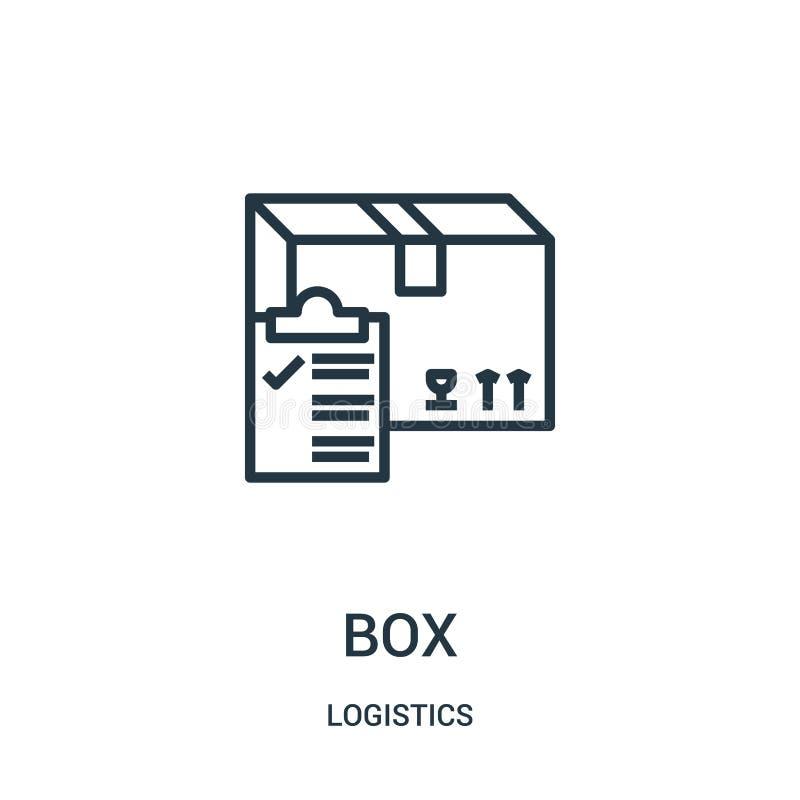 vetor do ícone da caixa da coleção da logística Linha fina ilustração do vetor do ícone do esboço da caixa Símbolo linear para o  ilustração do vetor