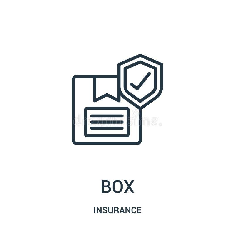 vetor do ícone da caixa da coleção do seguro Linha fina ilustra??o do vetor do ?cone do esbo?o da caixa S?mbolo linear ilustração stock