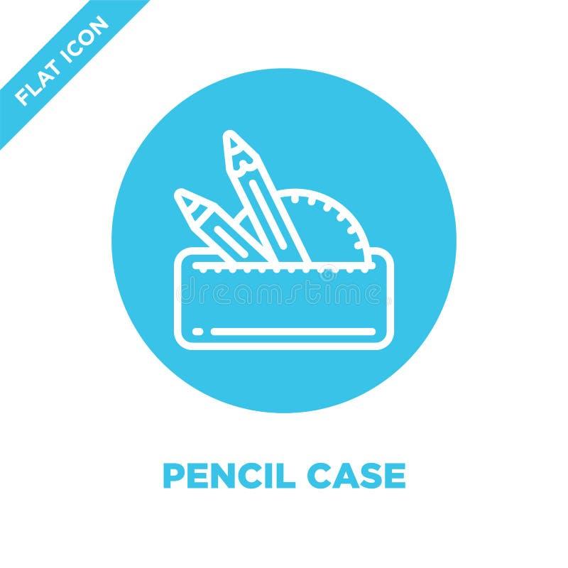 vetor do ícone da caixa de lápis da coleção dos artigos de papelaria Linha fina ilustração do vetor do ícone do esboço da caixa d ilustração stock