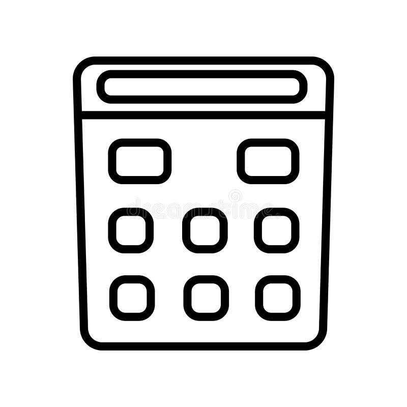 Vetor do ícone da calculadora da escola isolado no fundo branco, no sinal da calculadora da escola, no símbolo linear e nos eleme ilustração stock