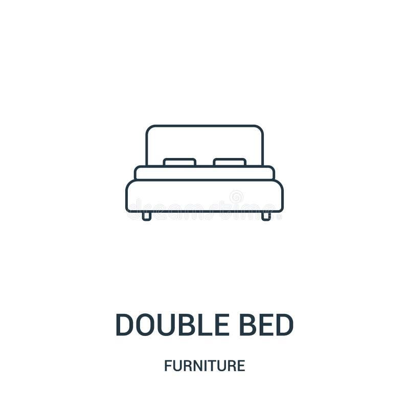 vetor do ícone da cama de casal da coleção da mobília Linha fina ilustração do vetor do ícone do esboço da cama de casal Símbolo  ilustração stock