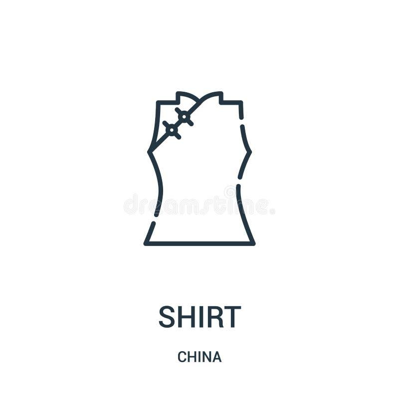 vetor do ícone da camisa da coleção da porcelana Linha fina ilustração do vetor do ícone do esboço da camisa Símbolo linear para  ilustração royalty free