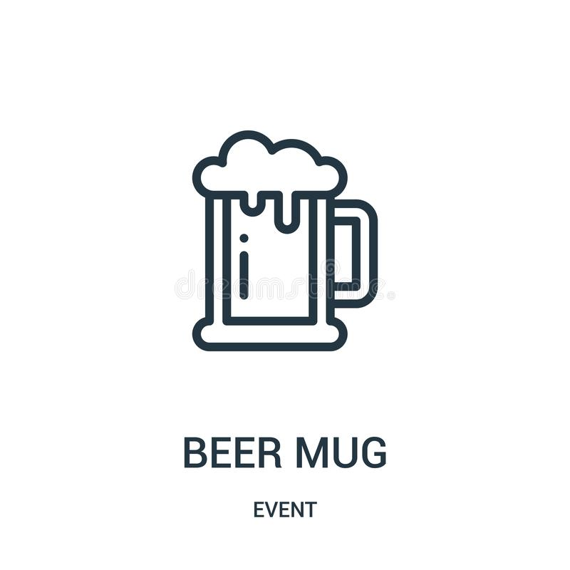 vetor do ícone da caneca de cerveja da coleção do evento Linha fina ilustração do vetor do ícone do esboço da caneca de cerveja ilustração do vetor
