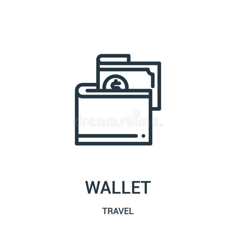 vetor do ícone da carteira da coleção do curso Linha fina ilustração do vetor do ícone do esboço da carteira Símbolo linear para  ilustração stock