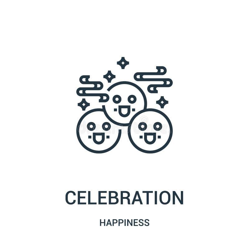 vetor do ícone da celebração da coleção da felicidade Linha fina ilustração do vetor do ícone do esboço da celebração Símbolo lin ilustração stock
