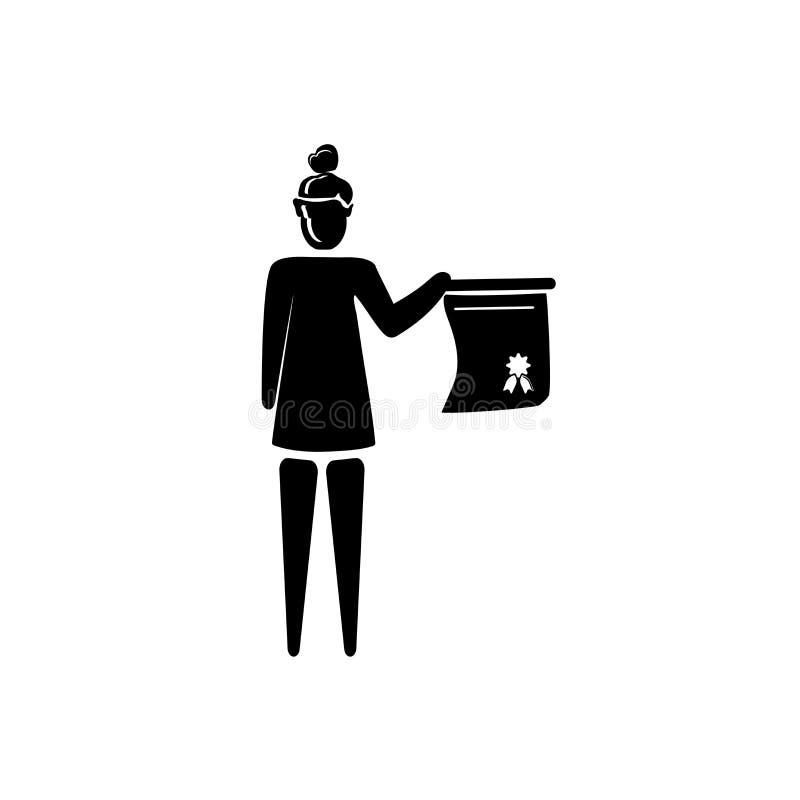 Vetor do ícone da certificação da mulher isolado no fundo branco, sinal da certificação da mulher, ilustrações do negócio ilustração stock