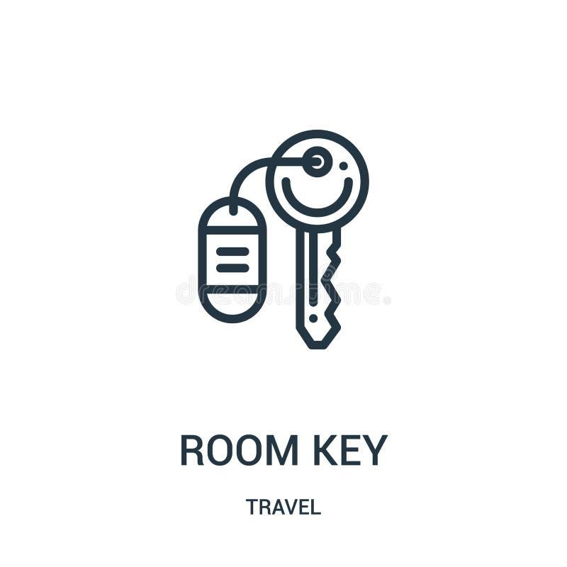 vetor do ícone da chave de sala da coleção do curso Linha fina ilustração do vetor do ícone do esboço da chave de sala Símbolo li ilustração stock