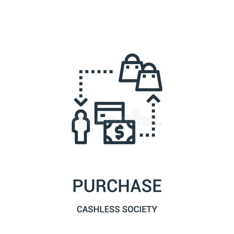 vetor do ícone da compra da coleção cashless da sociedade Linha fina ilustração do vetor do ícone do esboço da compra ilustração do vetor