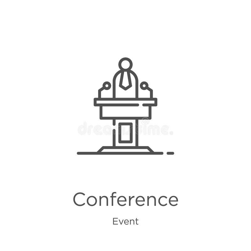 vetor do ícone da conferência da coleção do evento Linha fina ilustração do vetor do ícone do esboço da conferência Esboço, linha ilustração royalty free