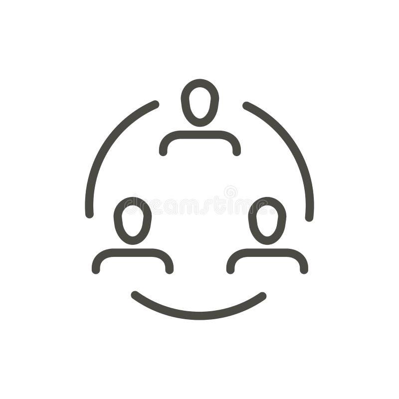 Vetor do ícone da conferência Símbolo de Linecommunication isolado Projeto liso na moda do sinal do ui do esboço fino ilustração stock