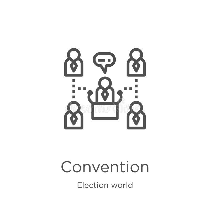 vetor do ícone da convenção da coleção do mundo da eleição Linha fina ilustração do vetor do ícone do esboço da convenção Esbo?o, ilustração stock