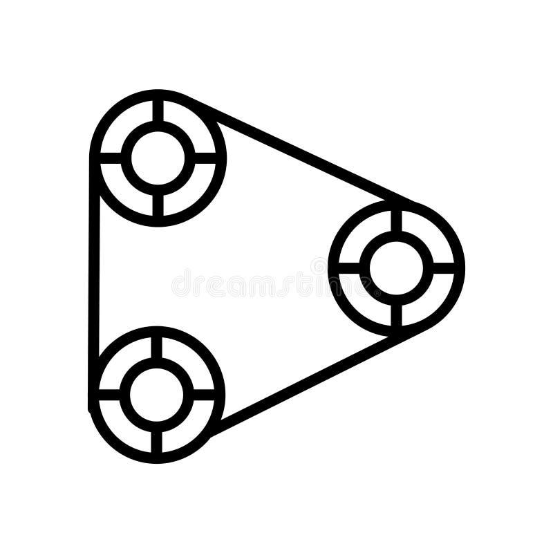 Vetor do ícone da correia de sincronismo isolado no sinal branco do fundo, da correia de sincronismo, no símbolo linear e nos ele ilustração do vetor