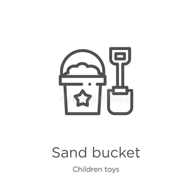 vetor do ícone da cubeta da areia da coleção dos brinquedos das crianças Linha fina ilustração do vetor do ícone do esboço da cub ilustração stock