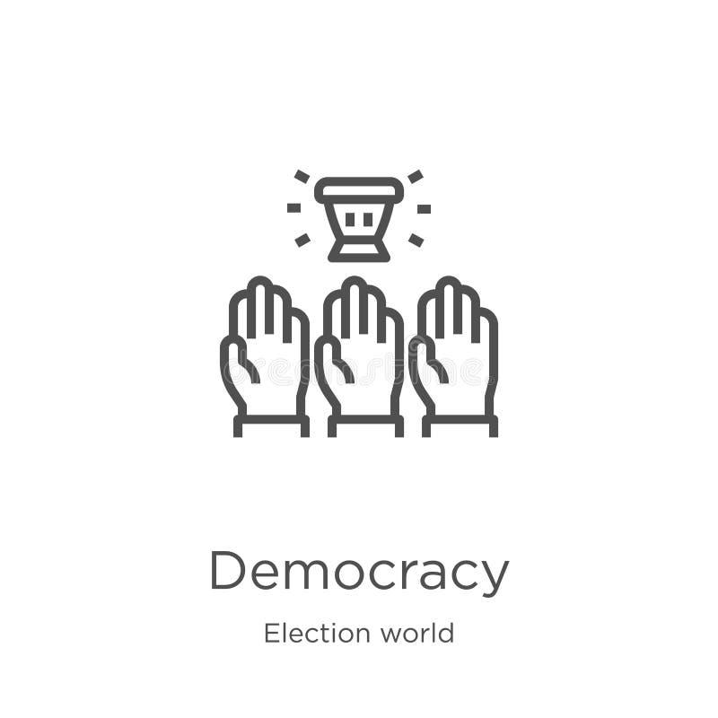 vetor do ícone da democracia da coleção do mundo da eleição Linha fina ilustração do vetor do ícone do esboço da democracia Esboç ilustração royalty free
