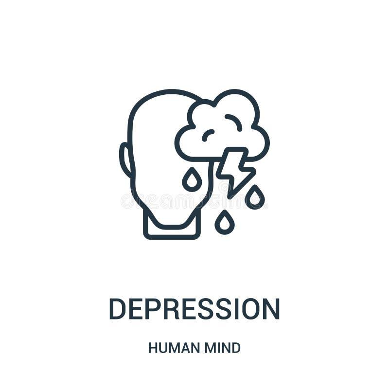 vetor do ícone da depressão da coleção da mente humana Linha fina ilustração do vetor do ícone do esboço da depressão Símbolo lin ilustração royalty free