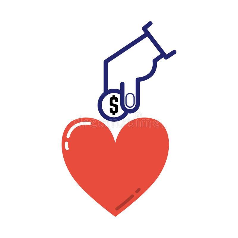 Vetor do ícone da doação do dinheiro ilustração royalty free