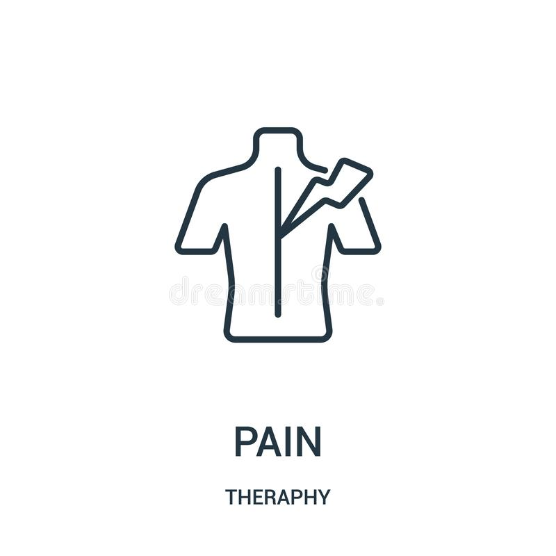 vetor do ícone da dor da coleção do theraphy Linha fina ilustração do vetor do ícone do esboço da dor ilustração do vetor