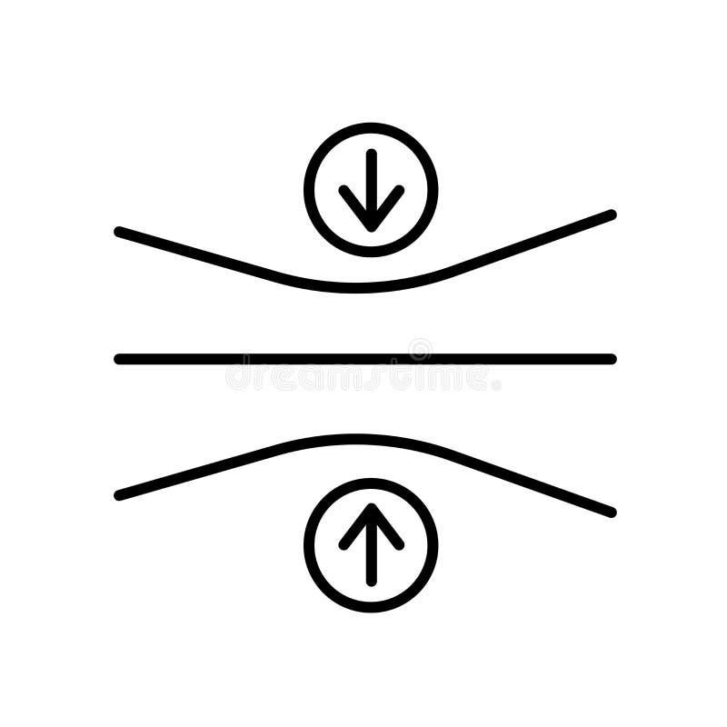 Vetor do ícone da elasticidade isolado no fundo, no sinal da elasticidade, no sinal e nos símbolos brancos no estilo linear fino  ilustração do vetor