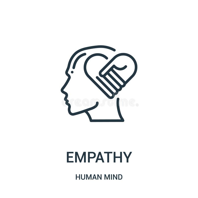 vetor do ícone da empatia da coleção da mente humana Linha fina ilustração do vetor do ícone do esboço da empatia Símbolo linear  ilustração do vetor