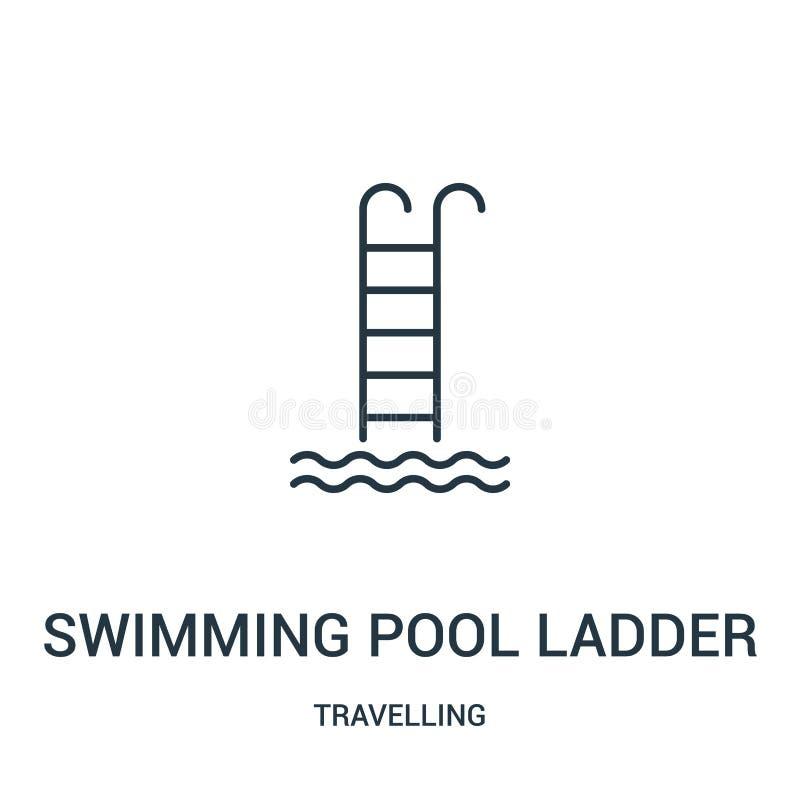 vetor do ícone da escada da piscina da coleção de viagem Linha fina ilustração do vetor do ícone do esboço da escada da piscina ilustração do vetor