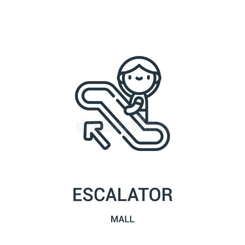 vetor do ícone da escada rolante da coleção da alameda Linha fina ilustração do vetor do ícone do esboço da escada rolante Símbol ilustração royalty free