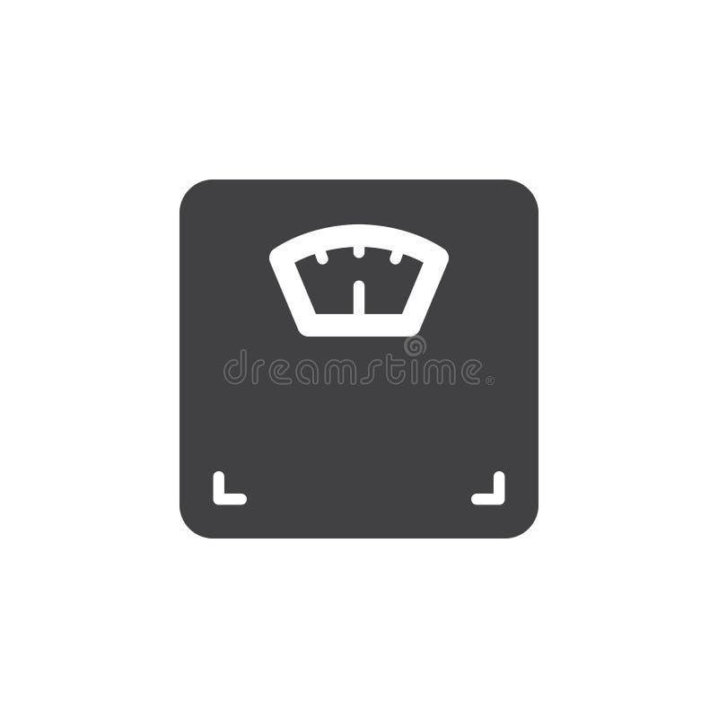 Vetor do ícone da escala do peso corporal, sinal liso enchido, pictograma contínuo isolado no branco ilustração do vetor