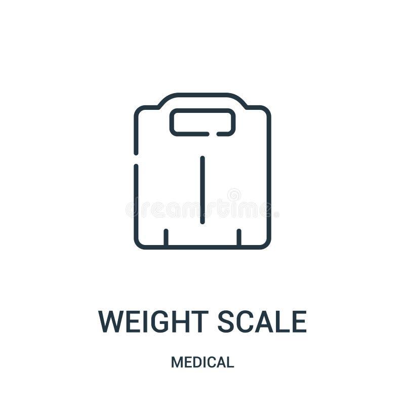 vetor do ícone da escala do peso da coleção médica Linha fina ilustração do vetor do ícone do esboço da escala do peso ilustração do vetor