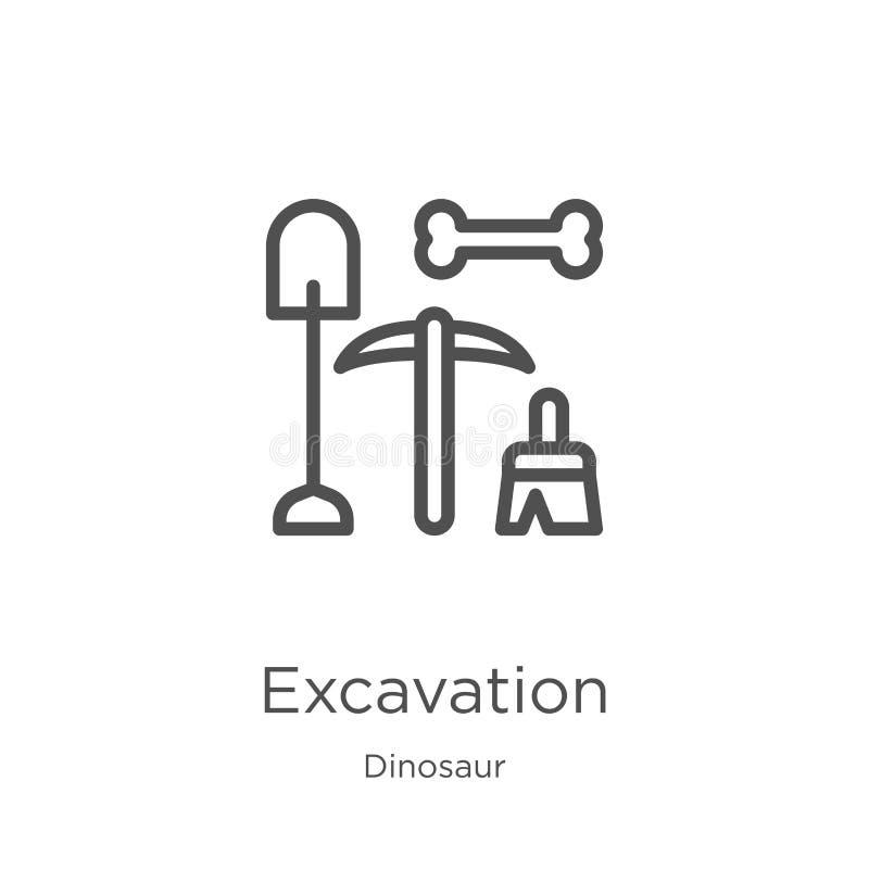 vetor do ícone da escavação da coleção do dinossauro Linha fina ilustração do vetor do ícone do esboço da escavação Esboço, linha ilustração stock