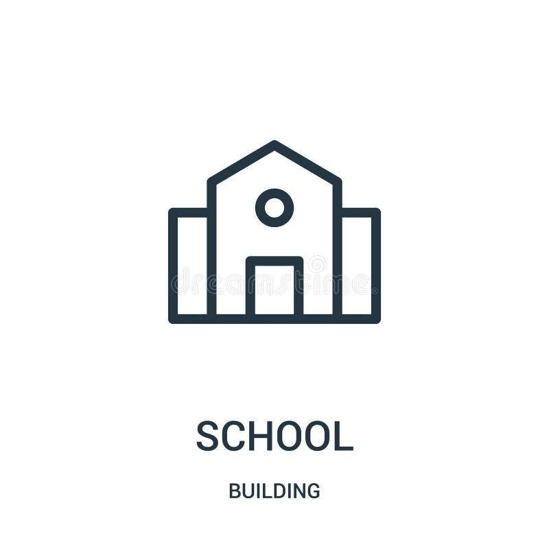 vetor do ícone da escola da coleção da construção Linha fina ilustração do vetor do ícone do esboço da escola ilustração do vetor