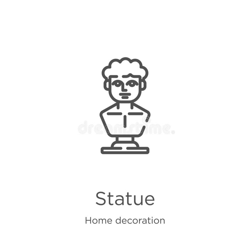 vetor do ícone da estátua da coleção da decoração da casa Linha fina ilustração do vetor do ícone do esboço da estátua Esboço, li ilustração royalty free