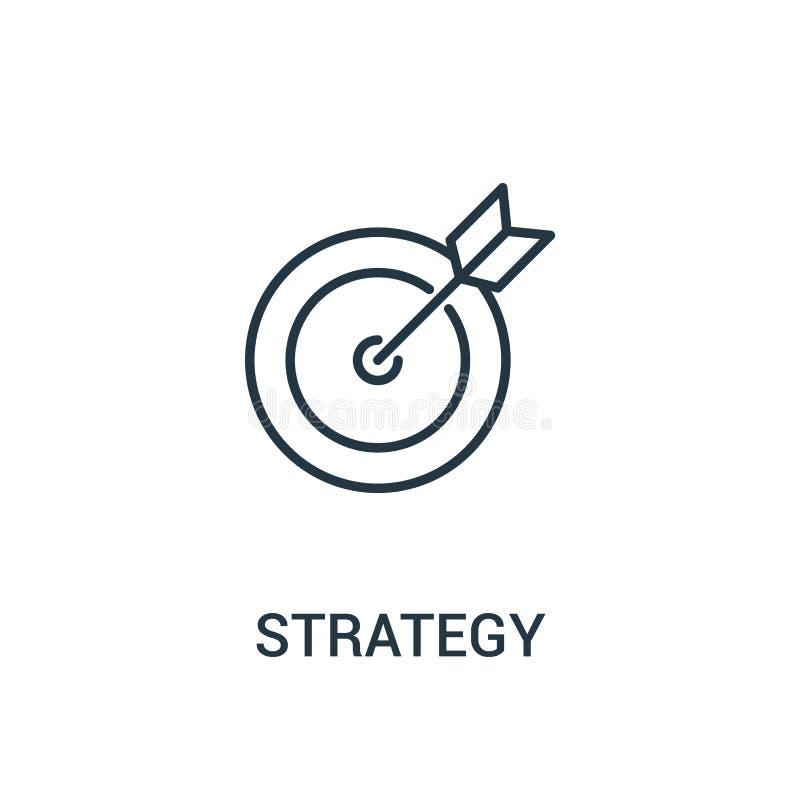 vetor do ícone da estratégia da coleção dos anúncios Linha fina ilustração do vetor do ícone do esboço da estratégia Símbolo line ilustração do vetor