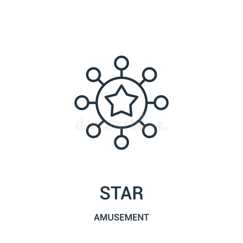vetor do ícone da estrela da coleção do divertimento Linha fina ilustração do vetor do ícone do esboço da estrela ilustração stock